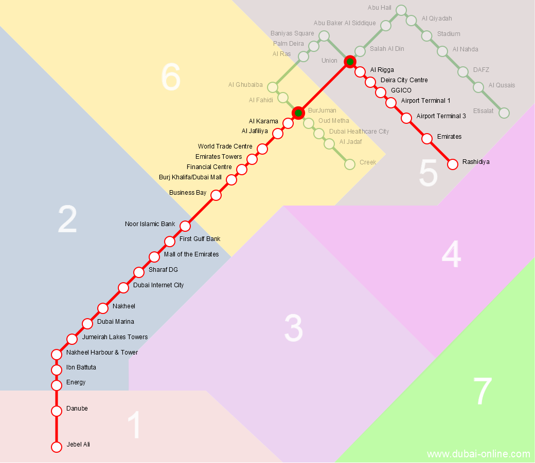 Dubai Metro Red Line Map