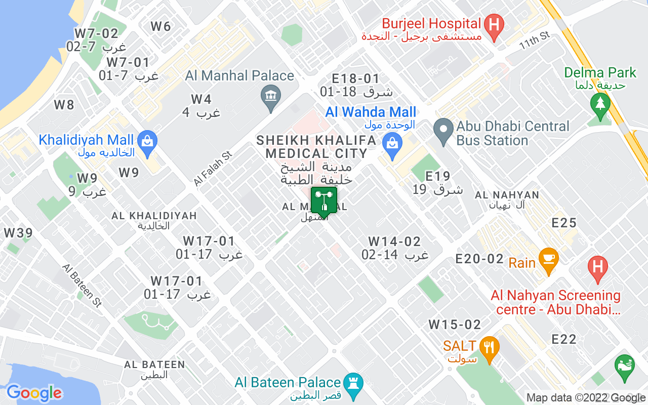Map showing location of weather station in Abu Dhabi