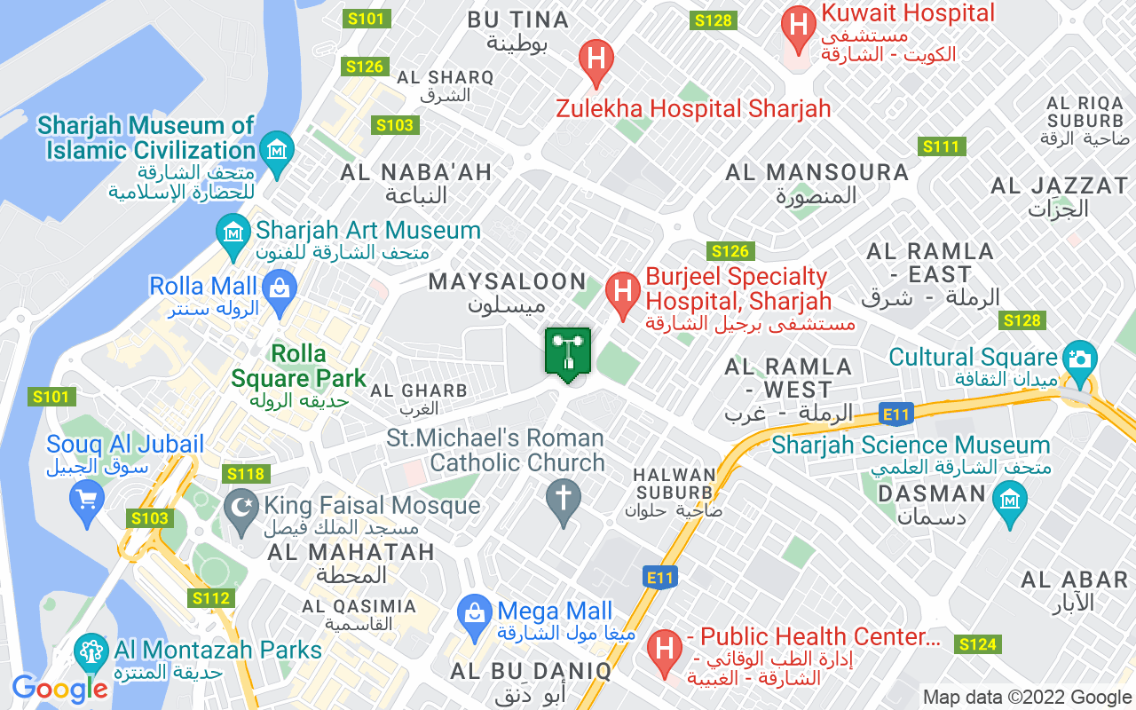Map showing location of weather station in Sharjah