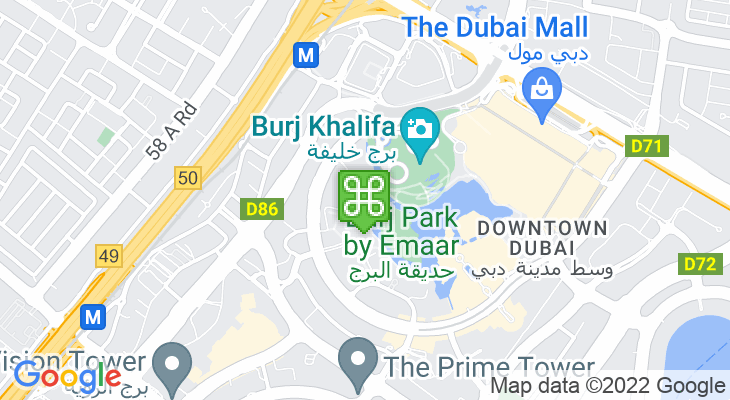 Map showing location of Dubai Opera