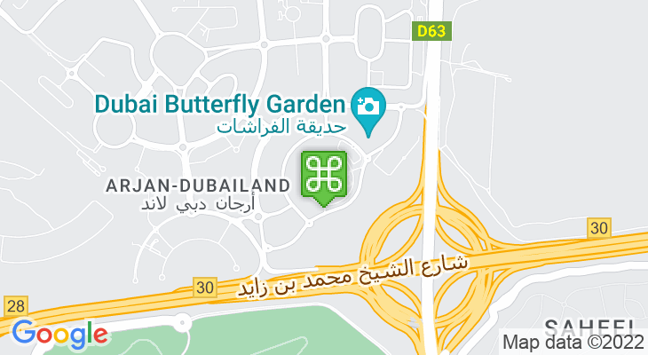 Map showing location of Dubai Miracle Garden