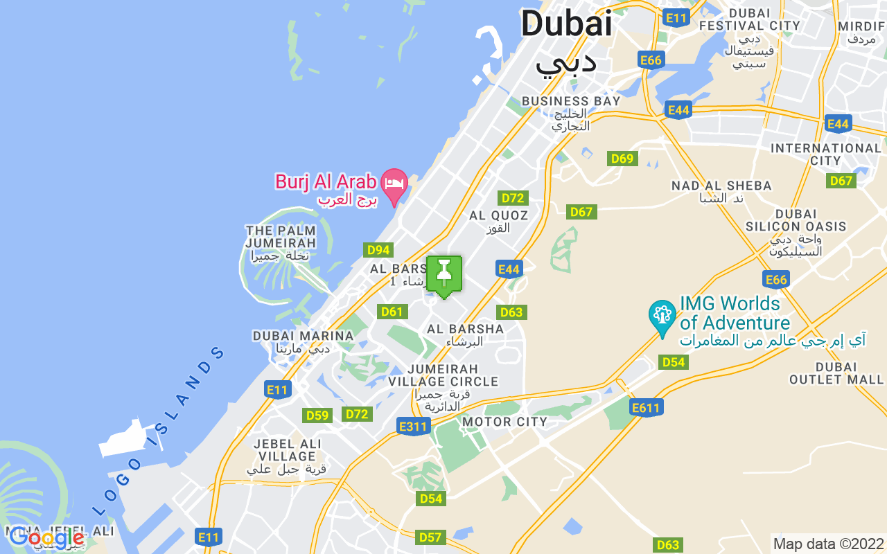 Map showing location of Dubai
