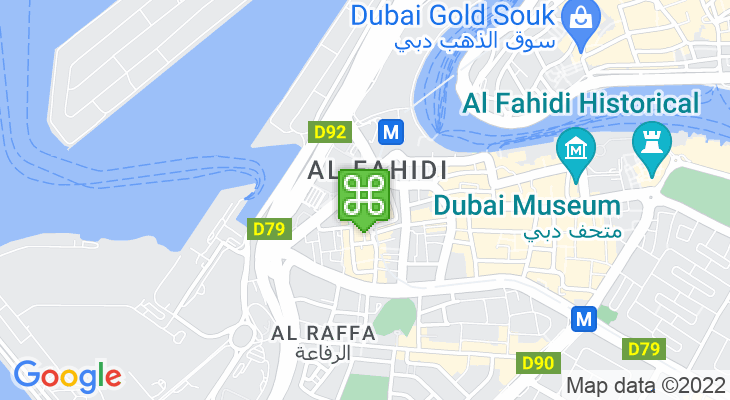 Map showing location of Al Ghubaiba Bus Station