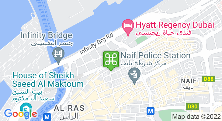 Map showing location of Gold Souq Bus Station
