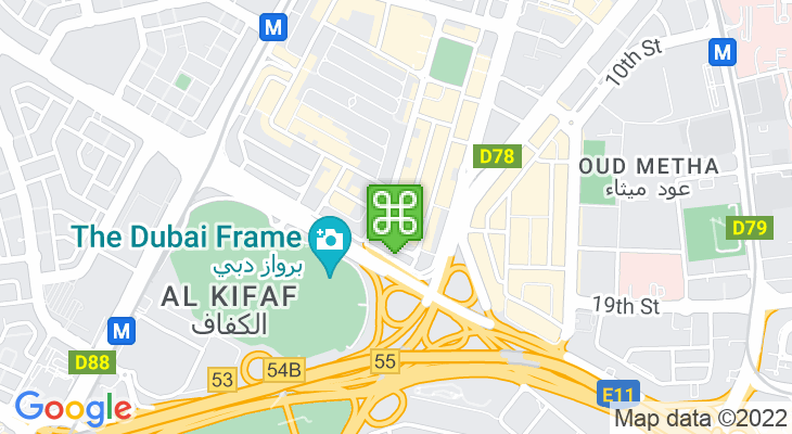 Map showing location of Al Karama Bus Station