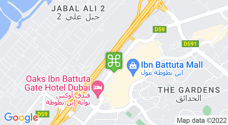Map showing location of Ibn Battuta Bus Station