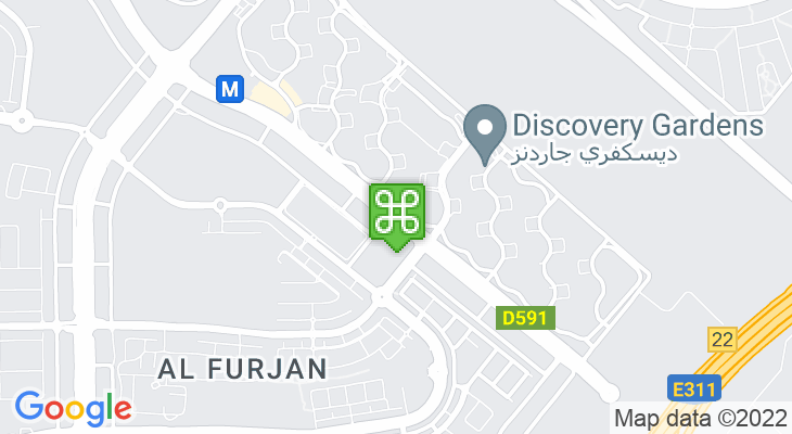 Map showing location of Al Furjan Metro Station