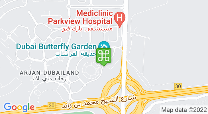 Map showing location of Dubai Butterfly Garden