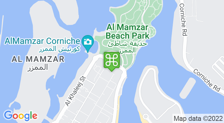 Map showing location of Al Mamzar Beach Park