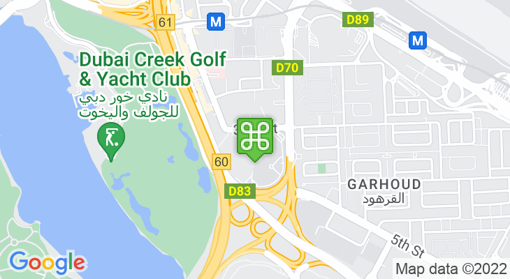 Map showing location of Dubai Duty Free Tennis Stadium