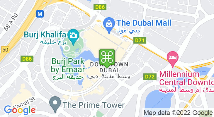 Map showing location of The Waterfall – Dubai Mall