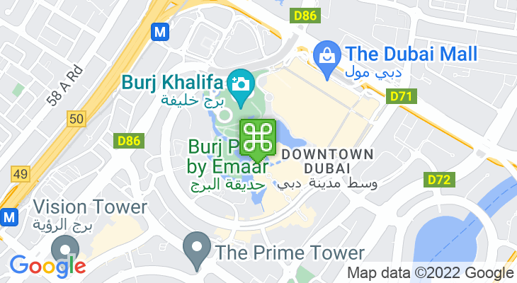 Map showing location of Dubai Fountain