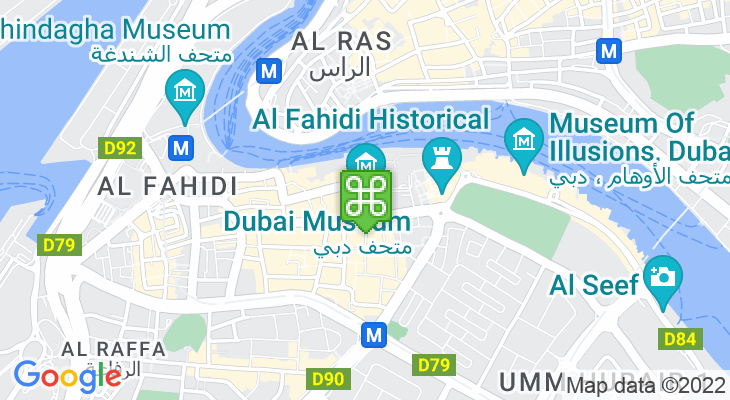 Map showing location of Dubai Museum