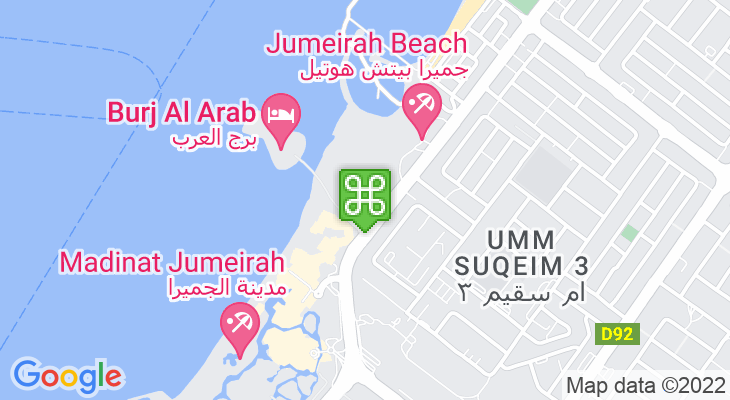 Map showing location of Wild Wadi Water Park