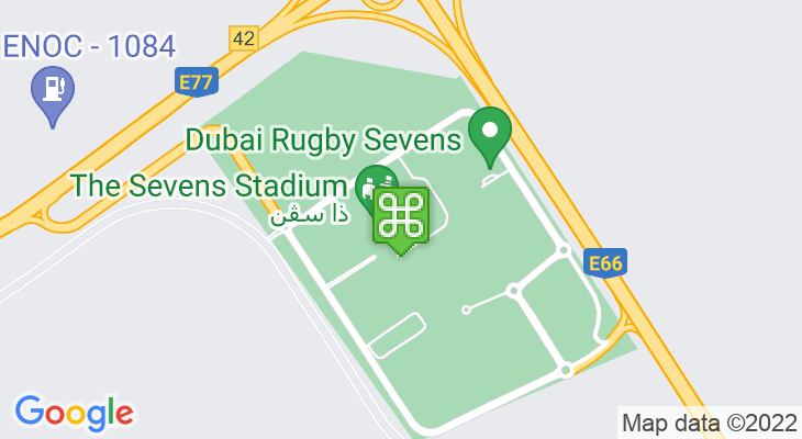 Map showing location of Dubai Rugby Sevens 2020