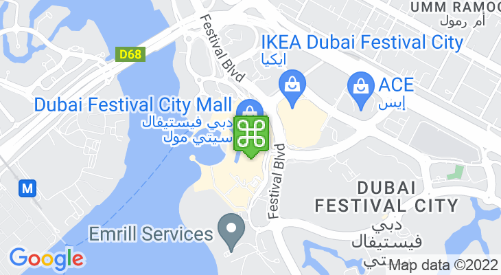 Map showing location of Dubai Festival City Mall