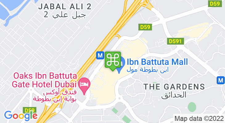 Map showing location of Ibn Battuta Mall