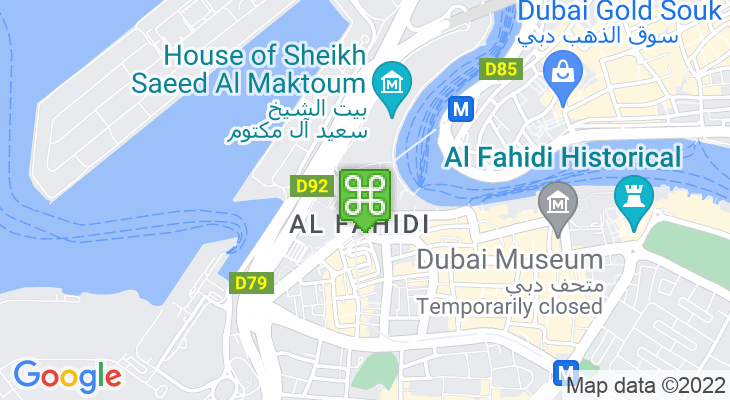 Map showing location of Al Ghubaiba Metro Station