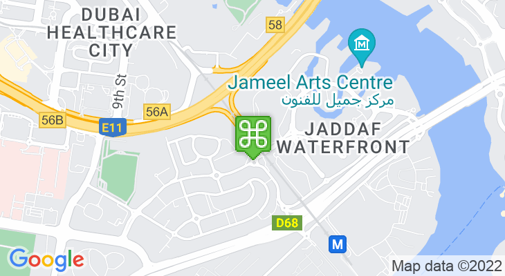 Map showing location of Al Jadaf Metro Station