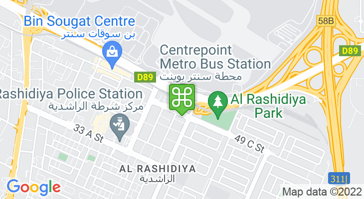 Map showing location of Rashidiya Metro Station