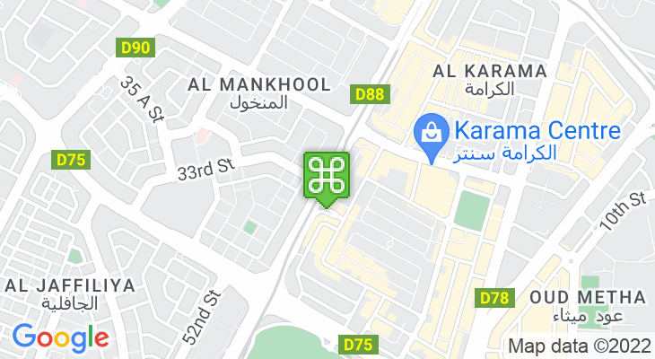 Map showing location of ADCB Metro Station (Al Karama)