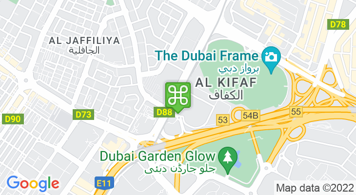 Map showing location of Al Jafiliya Metro Station