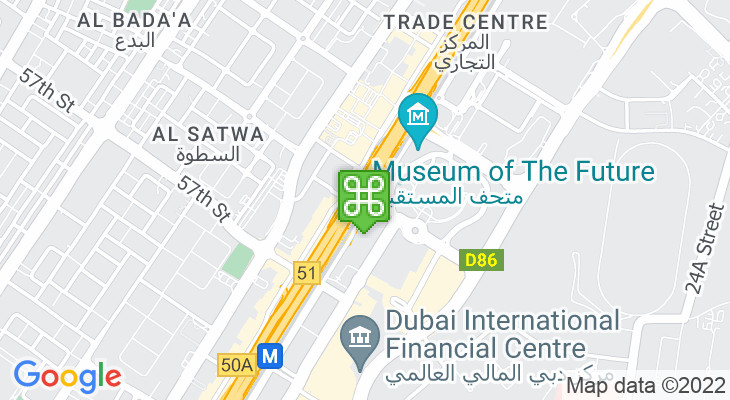 Map showing location of Emirates Towers Metro Station