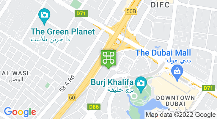 Map showing location of Burj Khalifa/Dubai Mall Metro Station