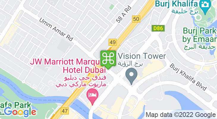 Map showing location of Business Bay Metro Station