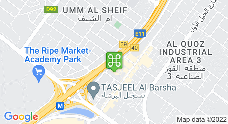 Map showing location of First Abu Dhabi Bank Metro Station