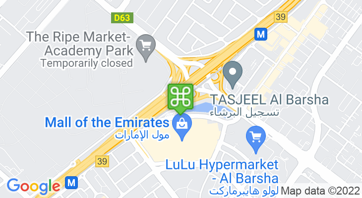 Map showing location of Mall of the Emirates Metro Station