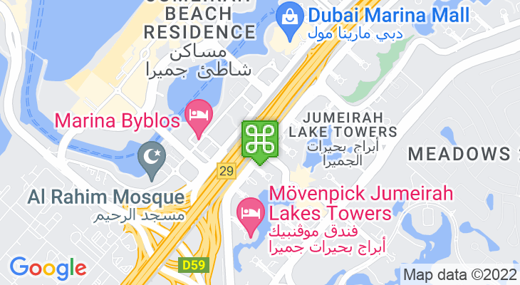 Map showing location of Jumeirah Lakes Towers Metro Station
