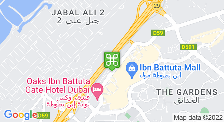 Map showing location of Ibn Battuta Metro Station