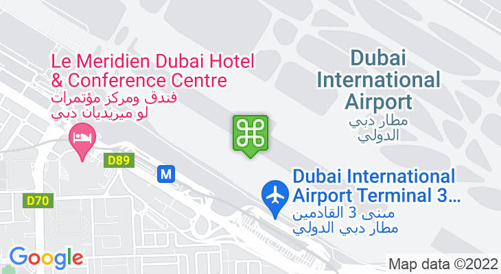 Map showing location of Dubai International Airport