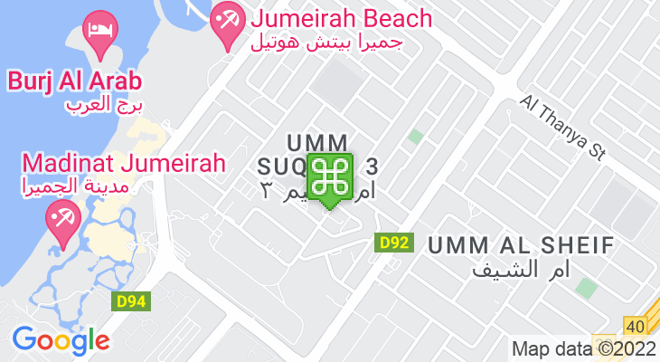 Map showing location of Kings' Dubai