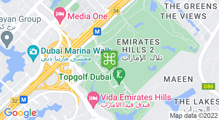 Map showing location of Emirates Golf Club – Faldo Course