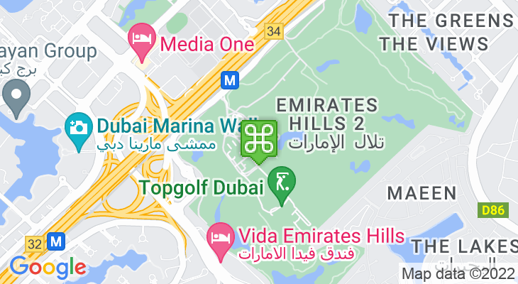 Map showing location of Emirates Golf Club – The Majlis Course
