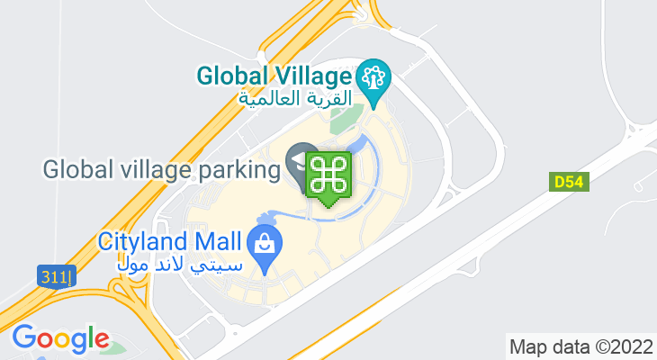 Map showing location of Global Village