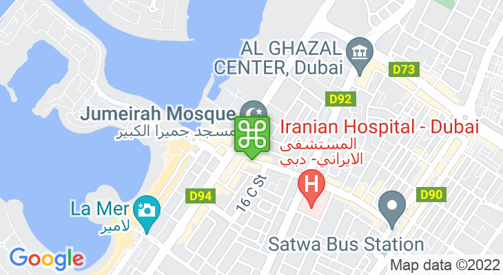 Map showing location of Jumeirah Mosque