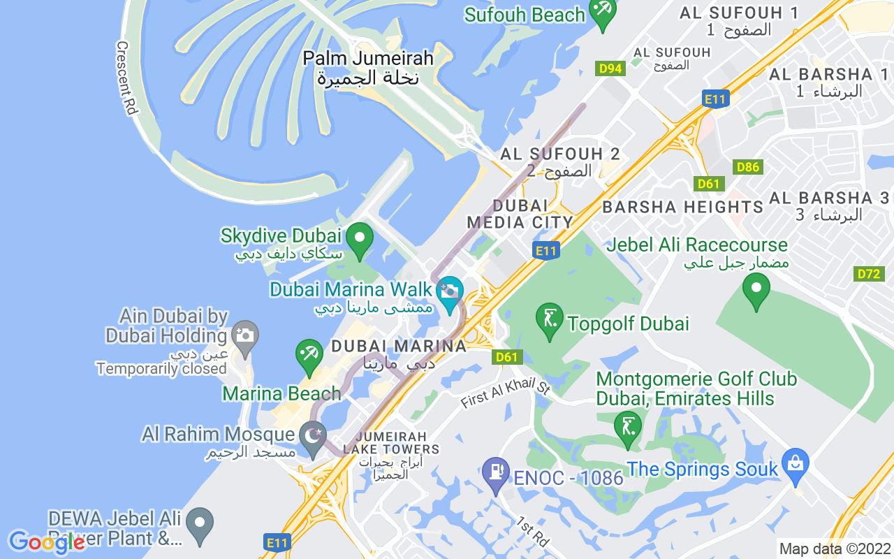 Map showing route of Dubai Tram