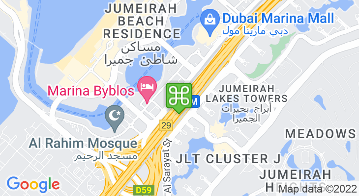 Map showing location of Jumeirah Lakes Towers Tram Station