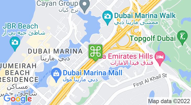 Map showing location of Dubai Marina Tram Station