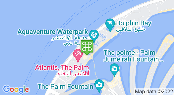 Map showing location of Palm Jumeirah Monorail – Atlantis Aquaventure Station
