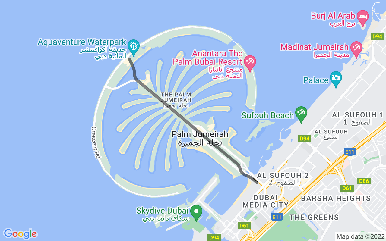 Map showing route of Palm Jumeirah Monorail