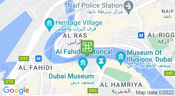 Map showing location of Deira Old Souk Abra Station