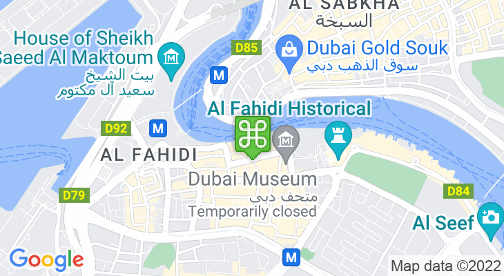 Map showing location of Dubai Old Souk Abra Station