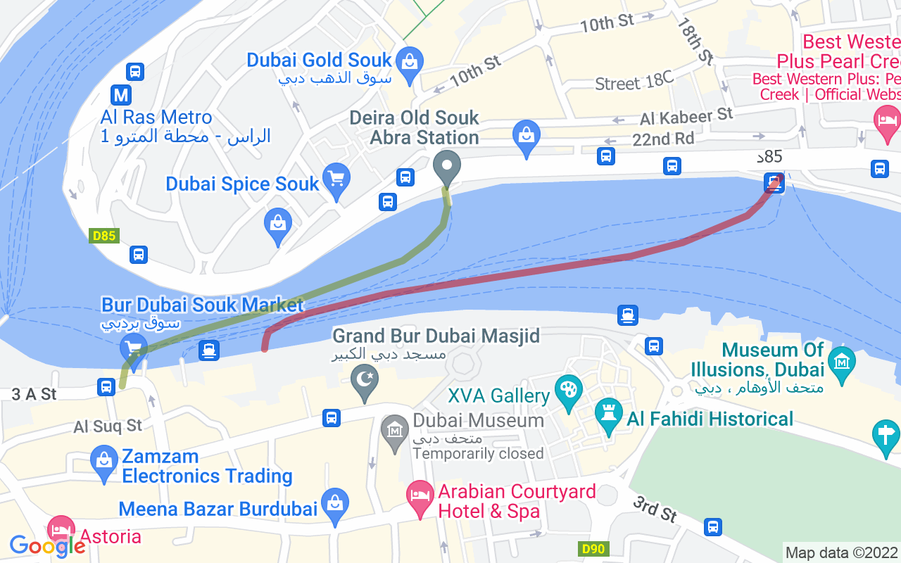 Map showing route of Dubai Abras