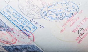 Dubai UAE visa and immigration stamps in a passport