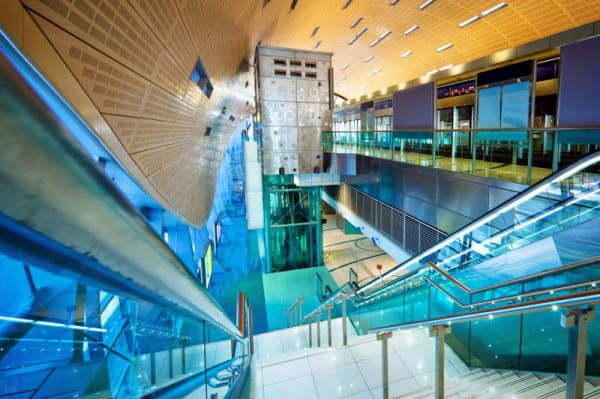 View of the interior of a futuristic Metro station in Dubai