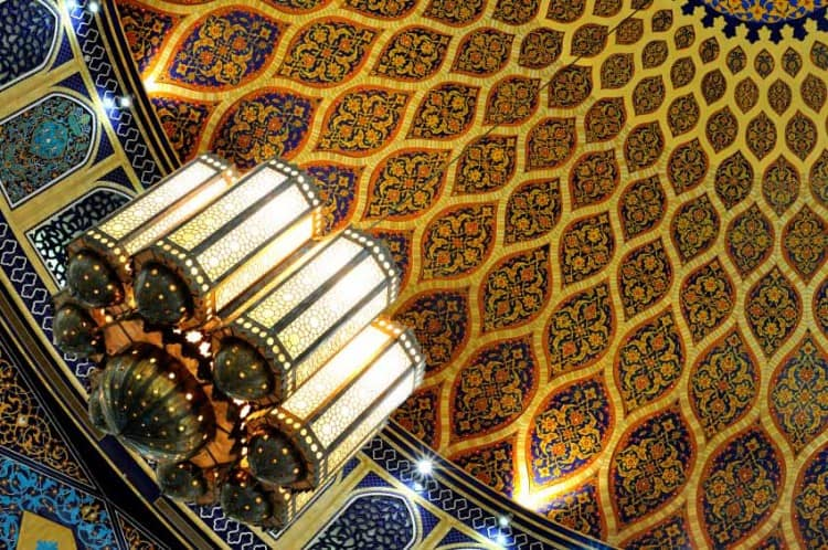 Detail of the ornate ceiling at the Ibn Battuta Mall in Dubai